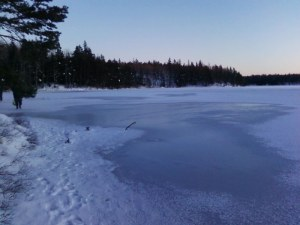 Footsteps on the frozen lake