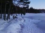 Footprints on the lake