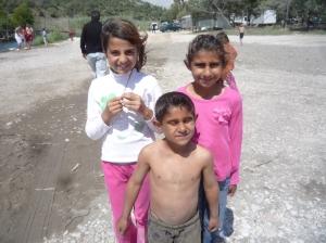 Kids on Windy Beach