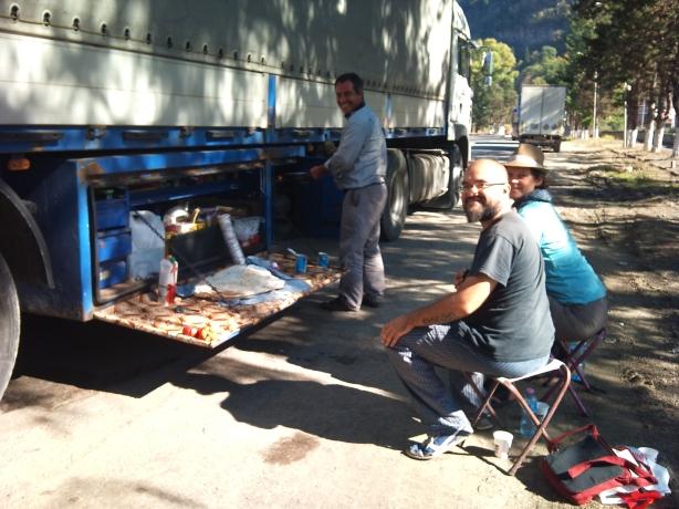 Our Azeri truck driver Rahman, preparing our lunch.