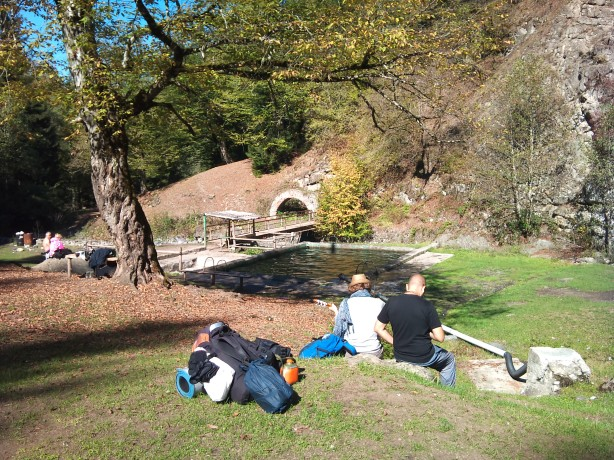 Camping place at the thermal pool in Borjomi