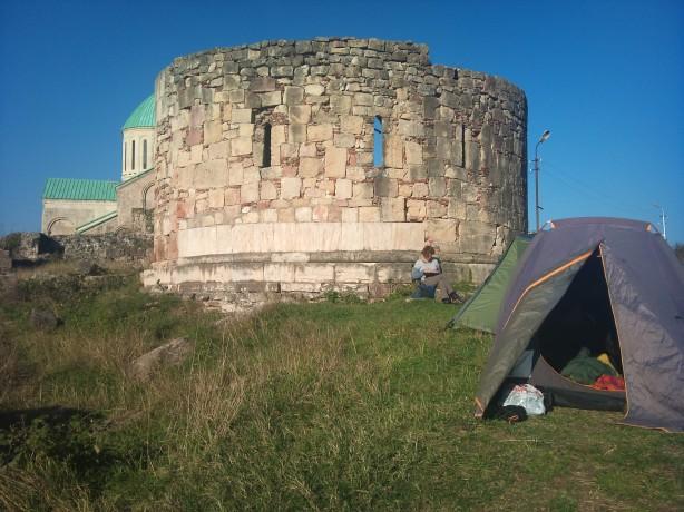Camping place behind Bagrati Cathedral, Kutaisi