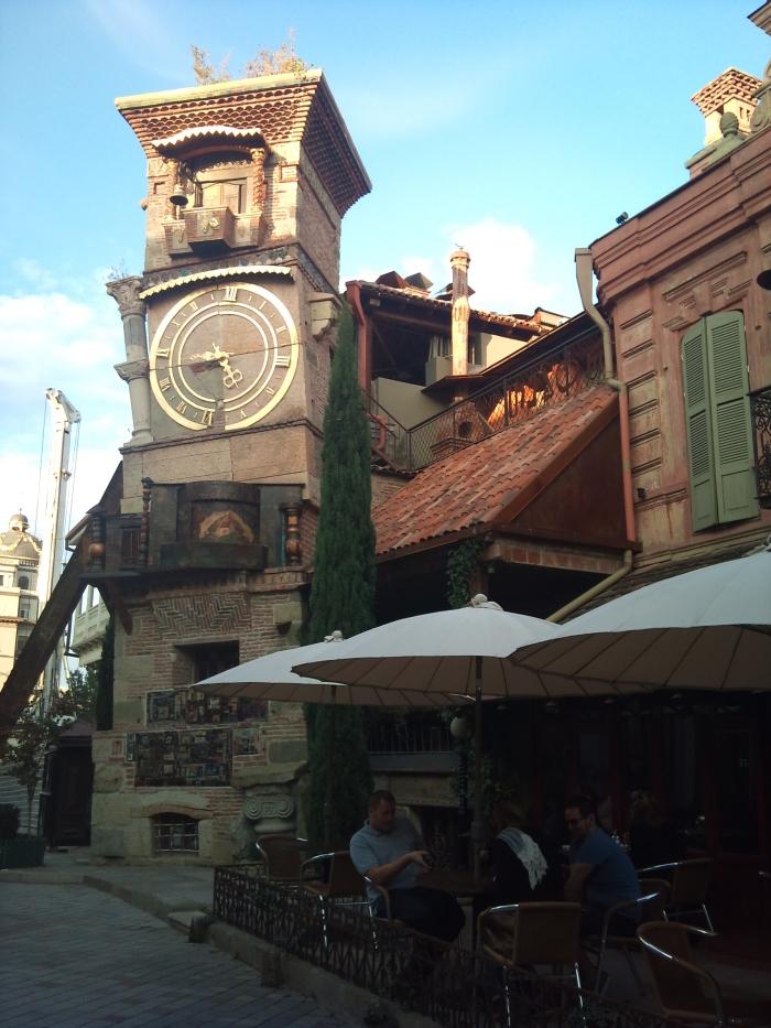 Weird wonky clock tower