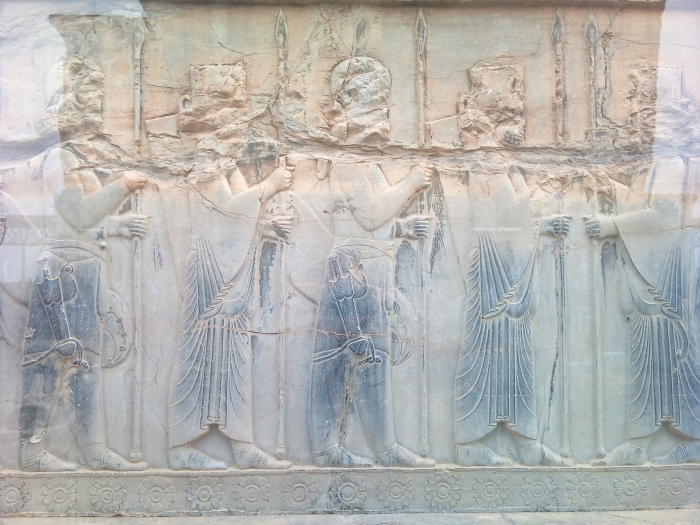 Persian and Median soldiers in relief on a wall