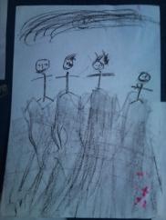 Farzana's illustration of when they crossed the border illegally into Turkey from Iran
