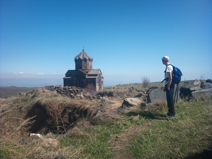Simon gazes upon one of Armenia's many monasteries.